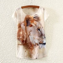 2017 Brand New Polyester T Shirt Women Short Sleeve t shirts o neck Causal loose Painting