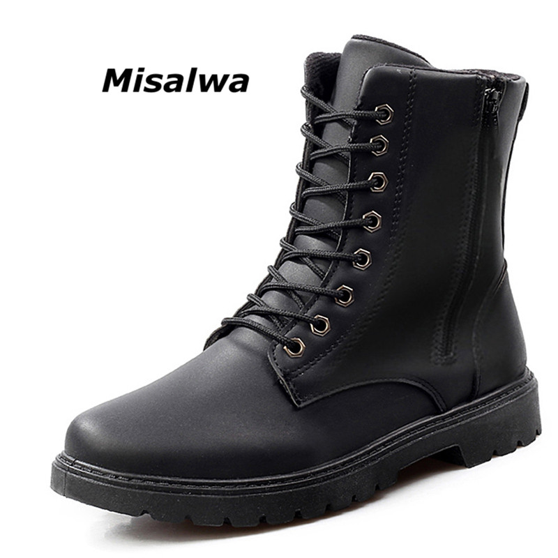 Misalwa Autumn Winter British Style Ankle Men Boots Black Brown Fashion Designer Leather Zipper Boots For Men High Top Warm Flat цена