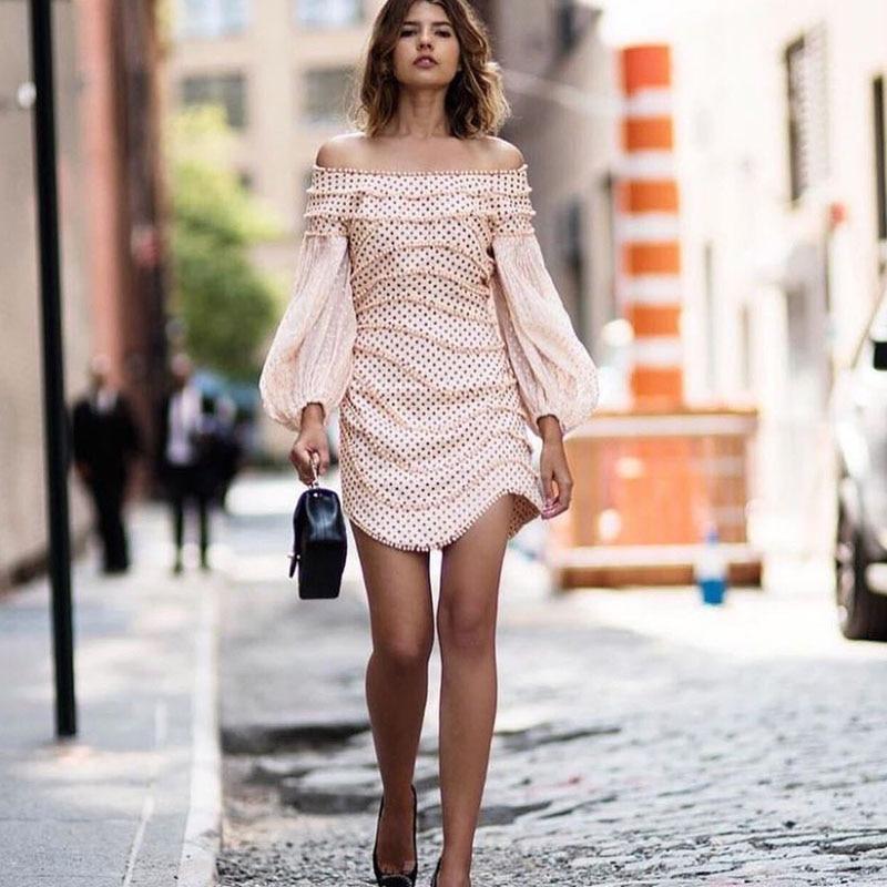 Mini Élégant En Pink Manches Pour Lanterne Dot Soie Slash D'été Cou Nouveau Patchwork Robe De Designer Perles Femmes Robes Irrégulière 2018 Mousseline wHa1XqSa