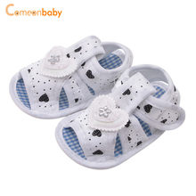 Summer Newborn Cotton Sandals Baby Girl Hollow Printed Soft-Soled Dress Sandals Children\'s Princess baby shoes(China)