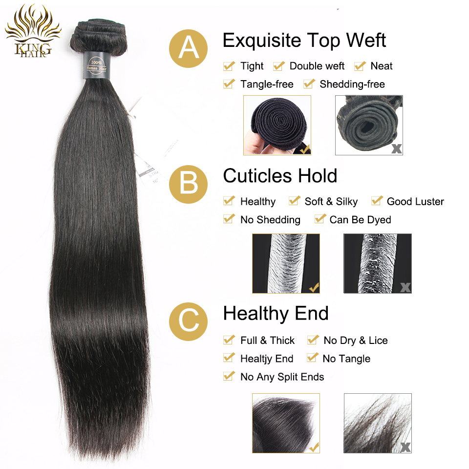 King Hair Brazilian Hair Straight 3 Bundles With Snap Closure 4PCS - Mänskligt hår (svart) - Foto 5