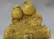 Costful 7 «Китай Фиолетовый Бронзовый 100% 24 К Золото Резные Реалистичные Лаки Два Птица Statu
