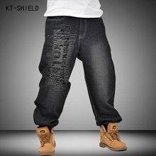 Men Black Jeans Men Letters Pattern Hip Hop Harem Pants Trousers Male Drop Crotch Pants Baggy Skateboard Denim Pants Plus Size