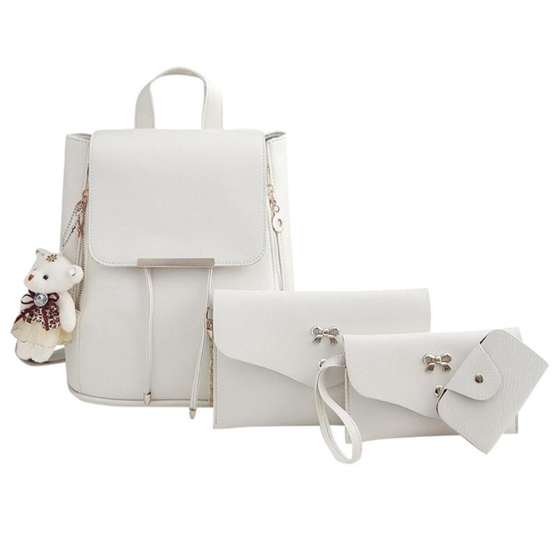 4pcs/Set Women Double Zips Backpack Soft PU Leather Backpack for Teenager Girls Travel Shoulder Bag for Students Mochila Z604pcs/Set Women Double Zips Backpack Soft PU Leather Backpack for Teenager Girls Travel Shoulder Bag for Students Mochila Z60