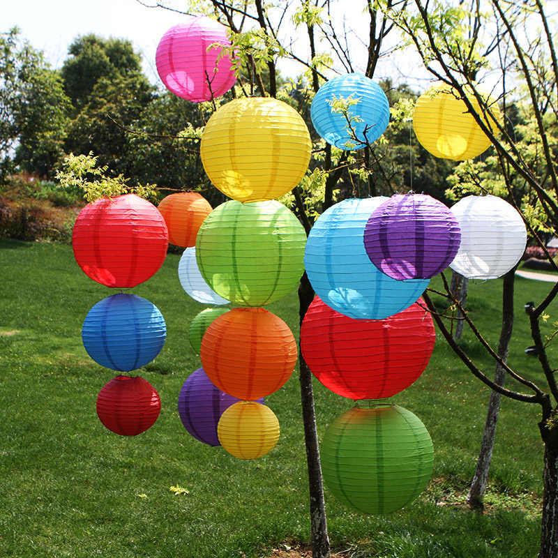 Lanternas de papel chinês redondo, 4/6/8/10/12/14/16 Polegada, aniversário, casamento, decoração de presente lampião de teto para artesanato diy, suprimentos para festa de bola