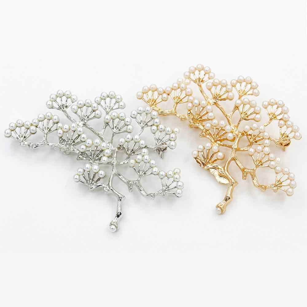 الحجر الطبيعي بروش قلادة اكسسوارات ريترو شجرة تصميم تقليد بيرل دبابيس دبوس مجوهرات للنساء و الرجال