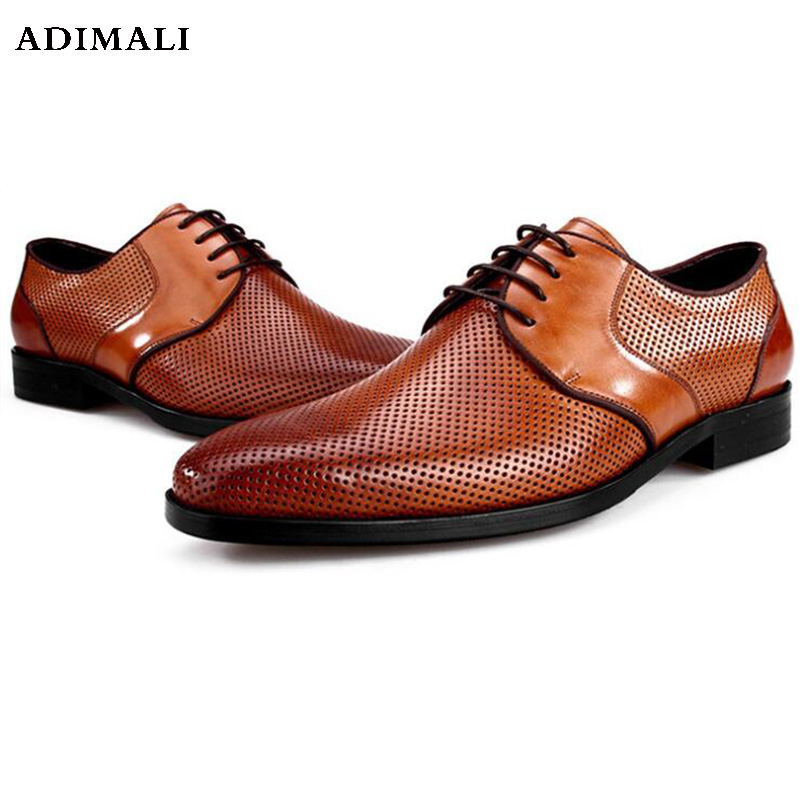 new Fashion Formal Men Shoes Punch Lace Breathable Hollow Business Dress Shoes Genuine Leather Casual Sandals lace panel casual shift dress fashion