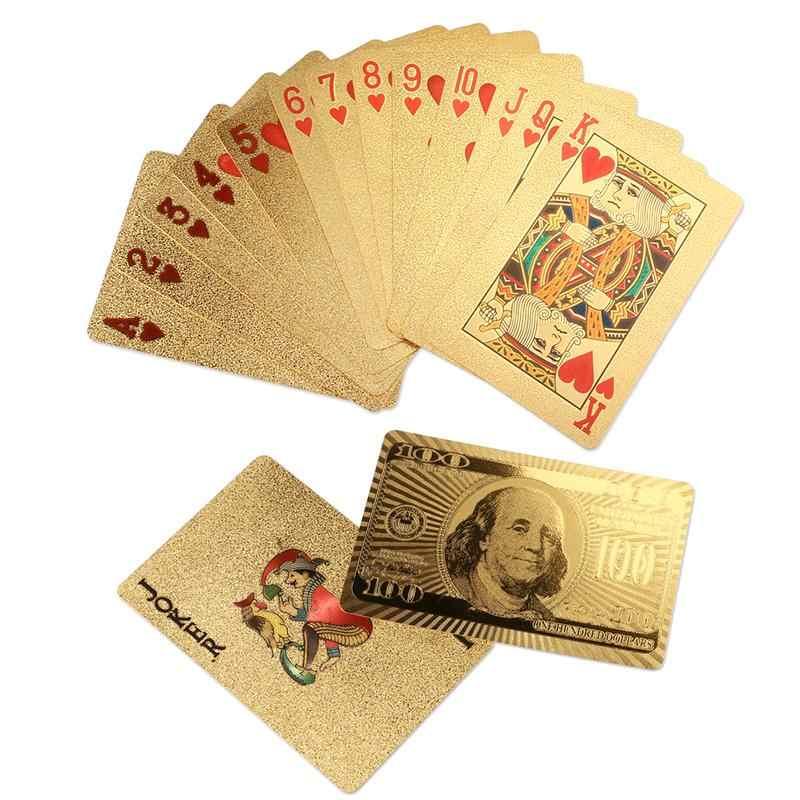 Золотая игральная Бумажная модель карты игра Роскошная золотая фольга покерный набор сетка пластиковая фольга покер прочная водонепроницаемая карта Подарочная коллекция