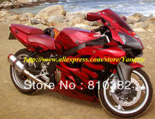 Black flames red Fairing kit for KAWASAKI Ninja ZZR600 05 06 07 08 ZZR 600 2005 2006 2007 2008 Injection mold Fairings set+gifts