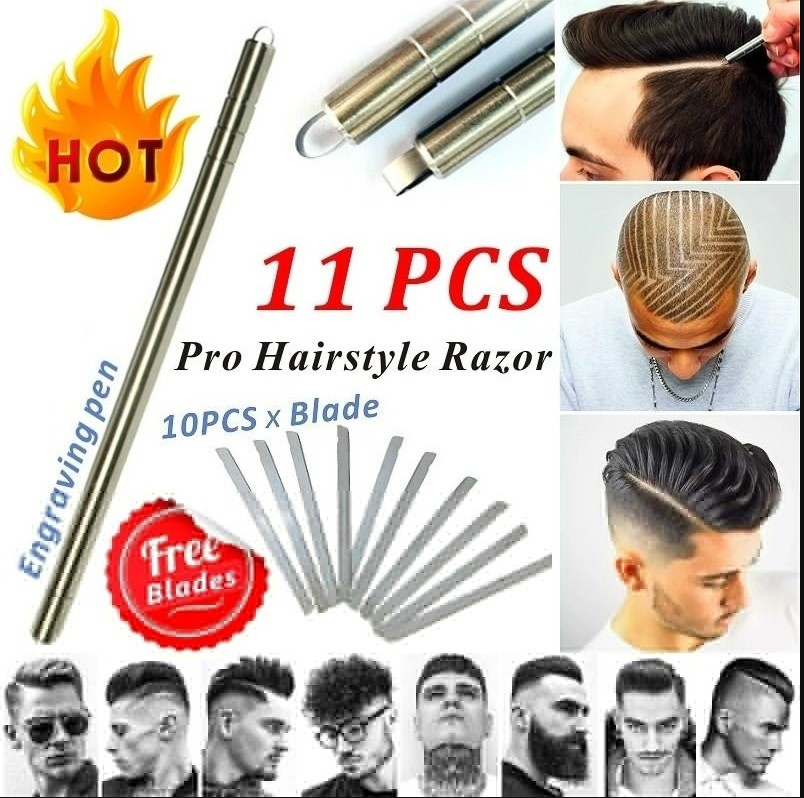 1 Pen With 10 Blades Hairstyle Engraved Pen+10Pcs Blades Hair Styling Hair Trimmers Eyebrows Shaving Salon DIY Hairstyle Fashion