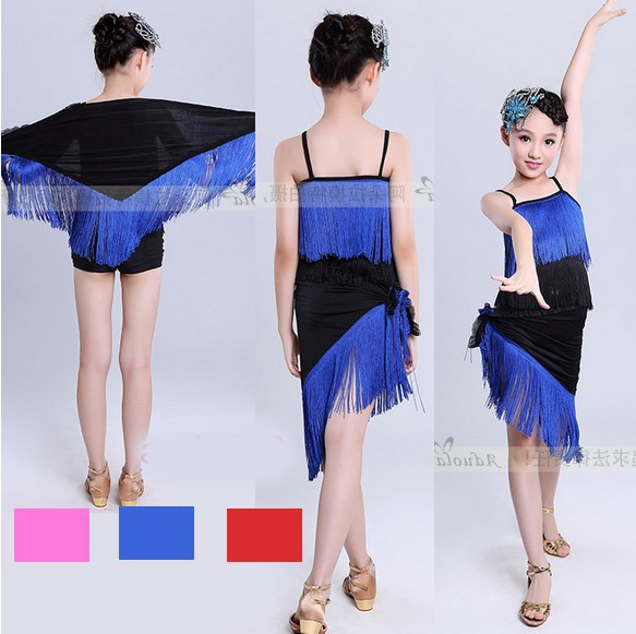 New Arrival Hot Pink Blue Red Fringed Womens Clothing / Cha Cha Dance Dress Women / Sexy Fringe Dresses For Women