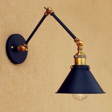 цена на 15cm Retro Loft Industrial Wall light Vintage Stair Lights Fixtures Swing Long Arm Wall Lamp Edison Wall Sconce Applique Murale