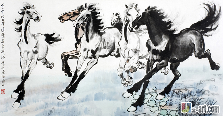 Xu beihong six horse runing canvas horse oil printing reproduction of famous artiusts art wall decoration / 16x30