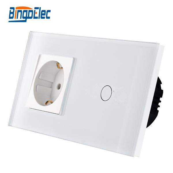 2017 Hot ! Bingo Touch Switch with EU Type Socket,16A Germany Socket, White Toghened Glass Panel eu standard wall switch with socket touch switch with eu germany wall socket hot sale
