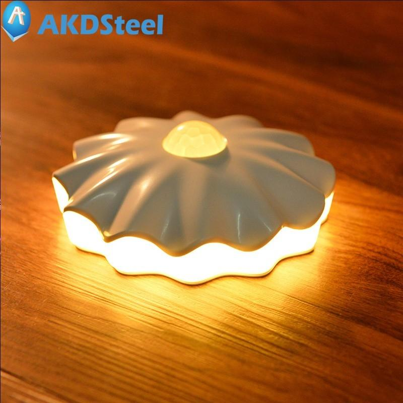 AKDSteel Movement Induction Lamp Shell Shape Corridor Light Wall Lamp Yellow White LED USB Rechargeable or Battery Powered TW tw l0603 led birdcage light yellow