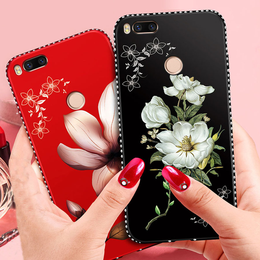 New Rhinestone Case For Xiaomi Redmi 5a Luxury 3d Relief Flowers Original Superhero Soft Meizu M3s 5 Inch Mi A1 Mia1 Flower Girl Pattern Silicone Protective