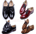 Low Price Brand New Women Shoes Sexy Ladies Thick Low Heels Super Wine Black Leopard Lace-up Flats Platform Woman Shoes 8