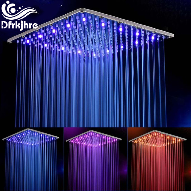 10 Inch 25cm * 25cm Water Powered Rain Chrome Led Shower Head Without Shower Arm.Bathroom 3 Colors Led Showerhead. Chuveiro Led. universal 25cm page 3