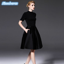 High Quality Black Dress Summer Women Vintage A Line Zippers Hal Sleeve A Line Dresses Slim Femme New Design Robe Dresses 2018 все цены