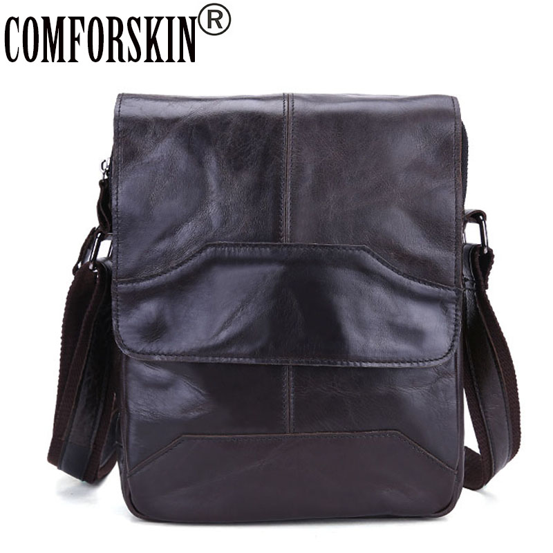 COMFORSKIN Luxurious Cow Cross-body Bag 2018 New Arrivals Hot Brand Vintage Men Messenger Bags High Quality Genuine Leather Bags new casual business leather mens messenger bag hot sell famous brand design leather men bag vintage fashion mens cross body bag
