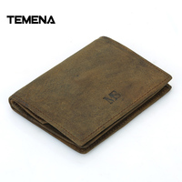 Temena Genuine Leather Men S Hasp Coin Purses Holders Small Women Wallet Card Holder Unisex Cow