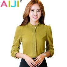 AIJI OL fashion O-neck solid blouses women elegant slim formal long sleeve chiffon shirt office ladies plus size work wear tops