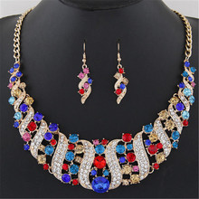 цены ECODAY Luxury Jewelry Sets Bridal Jewelry Crystal Earrings Necklace Set for Women Wedding Necklace Costume Jewelry Parure Bijoux