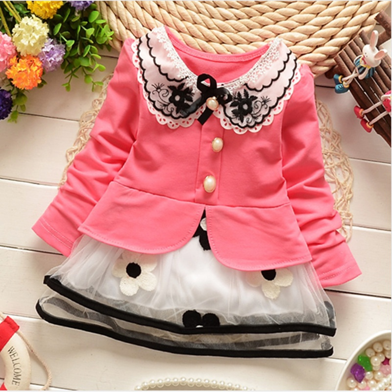 2017-Spring-and-summer-new-baby-girls-t-shirt-dress-fake-two-sweet-and-cute-style-pinkyellow-color-cotton-kids-clothes-dress-1