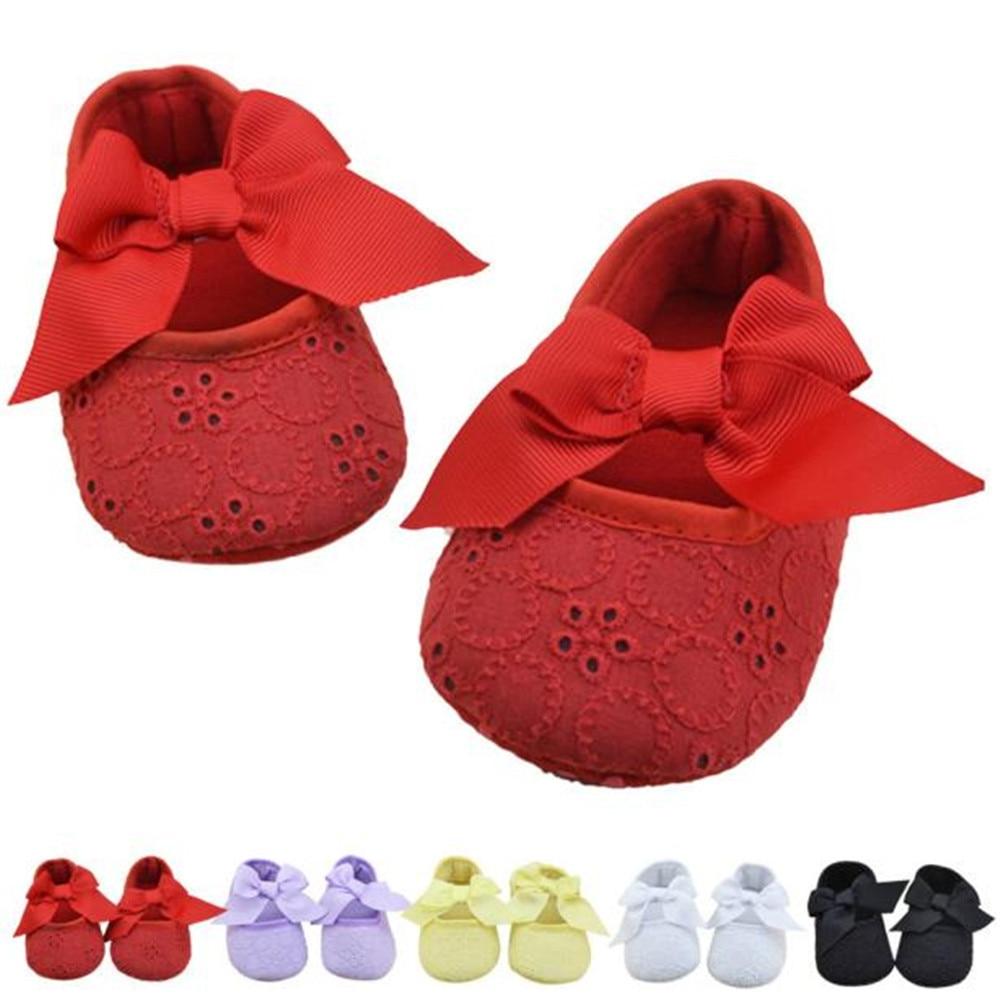 Infant Baby Girls Shoes Cotton Ribbon Bowknot Soft Bottom Flower Prewalker Newborn Toddler First Walker Soft Sole Anti-Slip BTTF