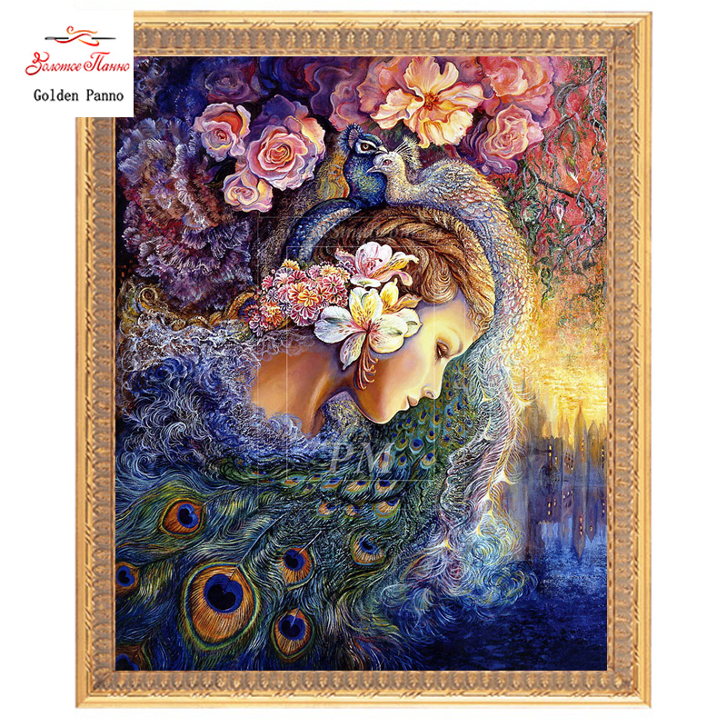 Golden Panno,Needlework,Embroidery,DIY Portrait Painting,Cross Stitch,kits,11ct ,Peacock Female Cross-stitch,Sets For Embroidery