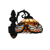 Baroque Vintage Stained Glass Iron Base Wall Light Tiffany Indoor Lighting Fixture Bedroom Living Dining Room Home Decor WL325