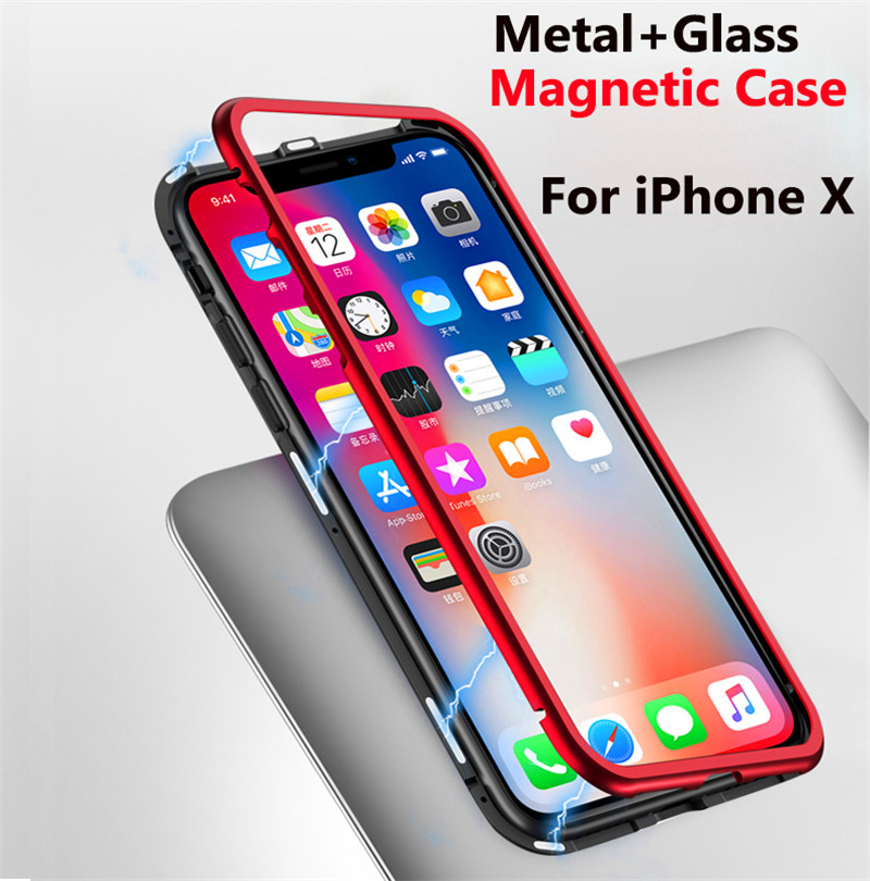 sports shoes dc844 864a4 US $12.87 8% OFF|Magnetic Adsorption Case for IPhone X Clear Tempered Glass  + Built in Magnet Phone Case for IPhoneX Metal Ultra Cover-in Fitted Cases  ...
