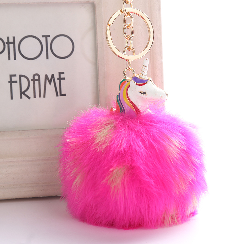 Anime Unicorn With Pom Pom Plush Toy With Keychain Unicorn Key Pendant Soft Stuffed Animal Toys Kids Girls Bag Hang Pendant flower decorated kids headband with pom pom