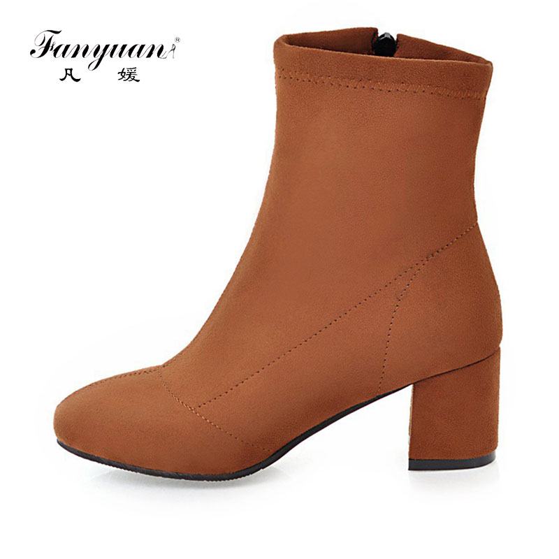 Fanyuan Plus Size 34-43 Ladies Fashion Autumn Winter Ankle Boots Women Solid Zip Boot Flock Thick High Heels Female Shoes plus size 34 43 autumn and winter ankle boots flock women motorcycle brand quality square high heeled woman chelsea boots shoes