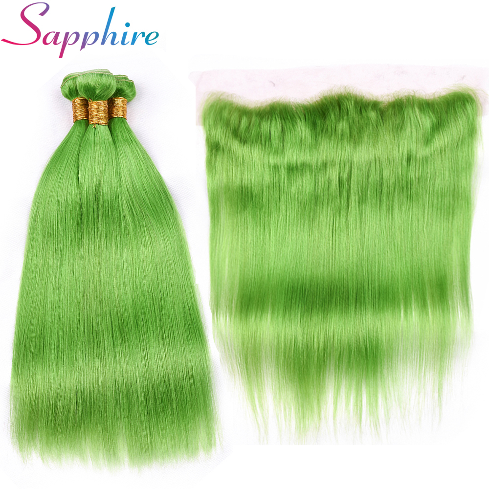 Sapphire Human Hair Bundles With 13*4 Free Part Ear to Ear Lace Frontal Green Color 3 Bundles One Pack Remy Straight Hair
