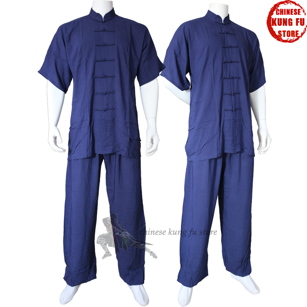 High Quality Summer Shortsleeves Cotton Tai chi Kung fu Suit Martial arts Wushu Wing Chun Uniform wing chun boji tutorial