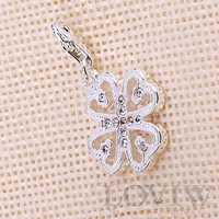 Silver Clover Charm Pendant With Lobster Clasp Thomas Style Cloverleaf Bijoux For Lady DIY Accessories NEW