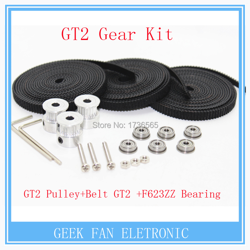 GT2 gearing kit with 6X F623ZZ Bearing + 3X 2M Belt GT2 20 Tooth Pulley bore 8mm for Delta Rostock Kossel Mini