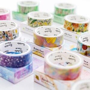 Image 1 - Декоративная декоративная лента со звездным небом, цветком, единорогом, лазерной позолотой, клейкая лента, самодельный стикер для скрапбукинга, этикетка, Маскировочная лента