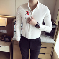 2017 New Arrival Shirt Men Turn Down Collar Slim Fit Men S Casual Shirts Long Sleeve