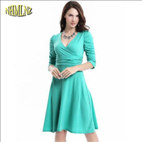 2016 New Fashion Women Summer Dress Sexy V NecK Wrap Robe Casual Dresses Plus Size Solid