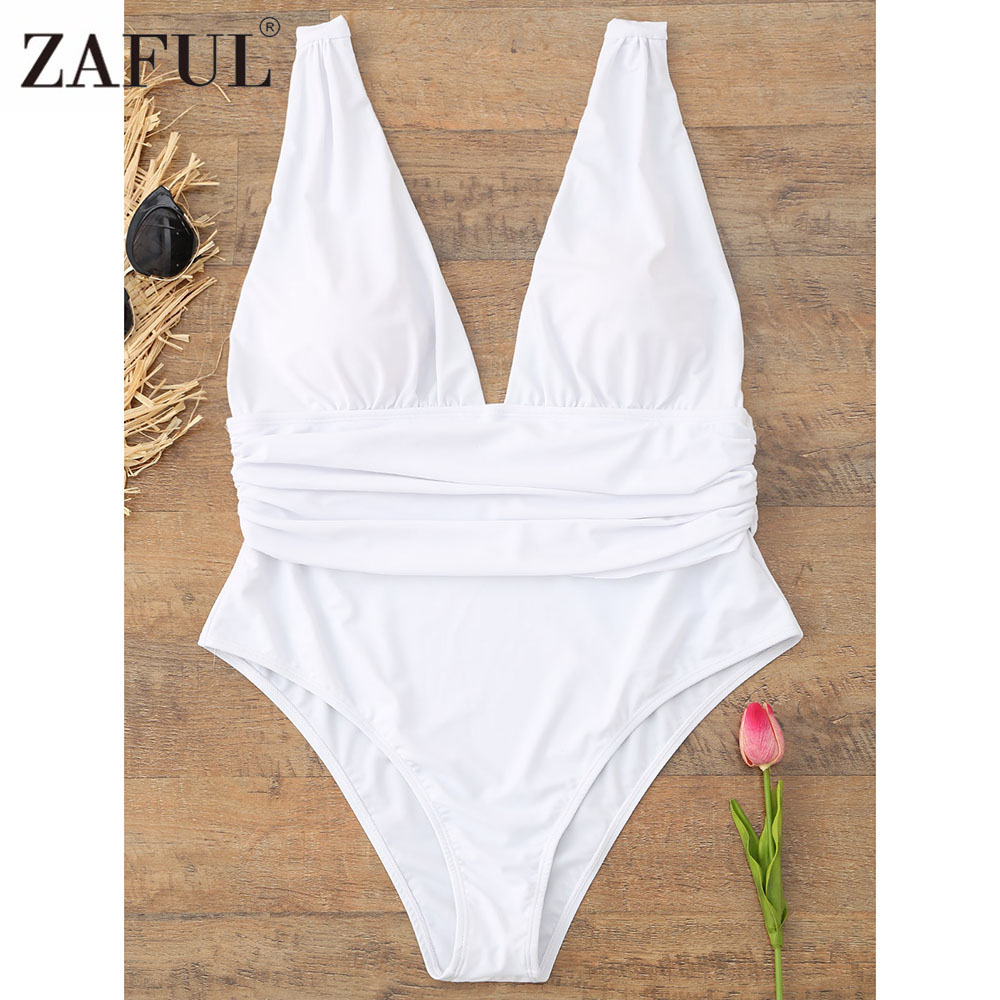 ZAFUL Plus Size One Piece Swimsuit 2018 Women Bodysuit Swimwear Beach Wear Sexy Swimsuit Big Size White Bathing Suit Monokini plus size scalloped backless one piece swimsuit