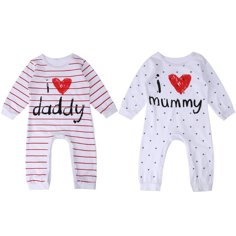 Casual Baby Romper Spring Autumn Clothing Sleepwear Heart Letters Stripes Long Sleeve Romper Boys Girls One-piece Jumpsuit