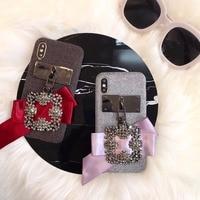 Super Luxury Popular Women Phone Case Diamonds Finger Ring for iphoneX 8 8Plus 7 7Plus 6 6s Plus Cloth Fabric Green Red Pink co