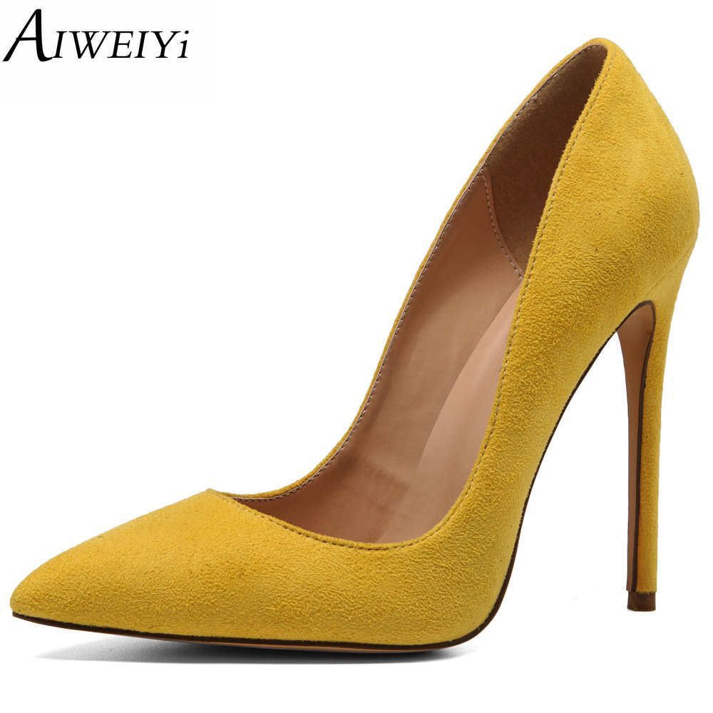 AIWEIYi Women Pointed Toe High Heels Stiletto Pumps Ladies Slip On Wedding Party Basic Shoes Black Red Women High Heel Shoes цены онлайн