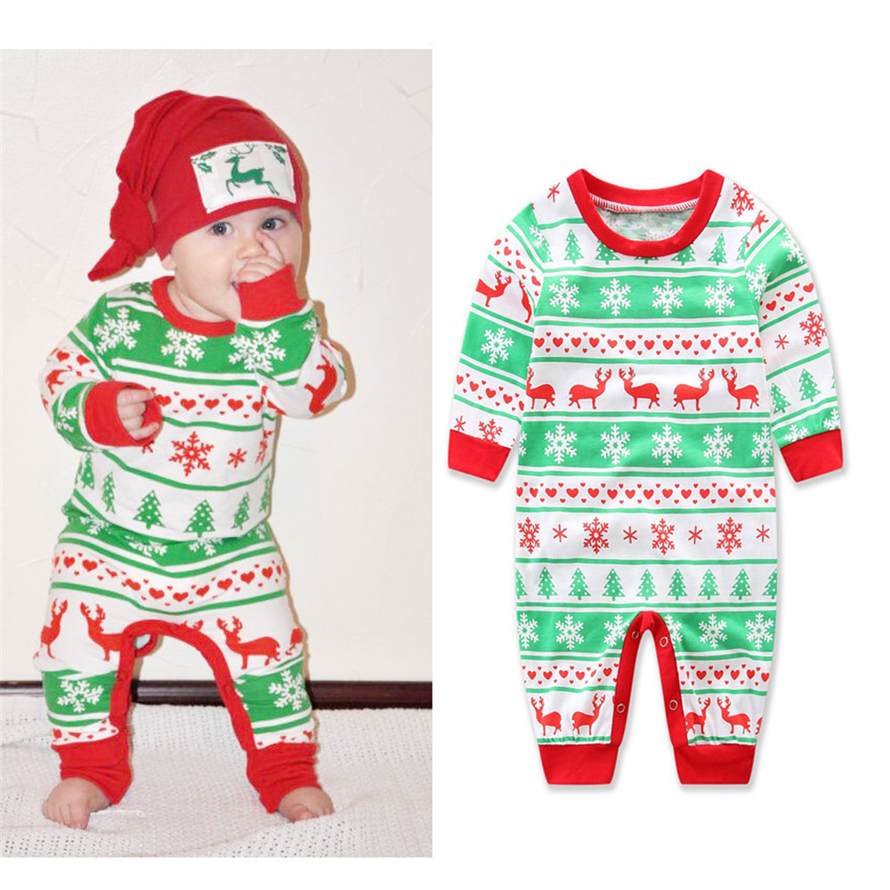 Christmas Party Baby Girl Rompers Deer Print Toddler Girl Jumpsuits Infant Cute Clothes Newborn Cotton Costume Cartoon Pajamas