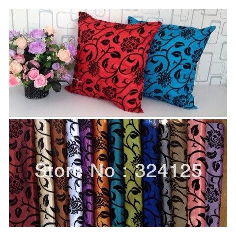 "Wholesale Free Shipping 5pcs Dobby 15 color Taffeta Flocking pillow Slip cover Cushion cases 18 "" 45X45CM"
