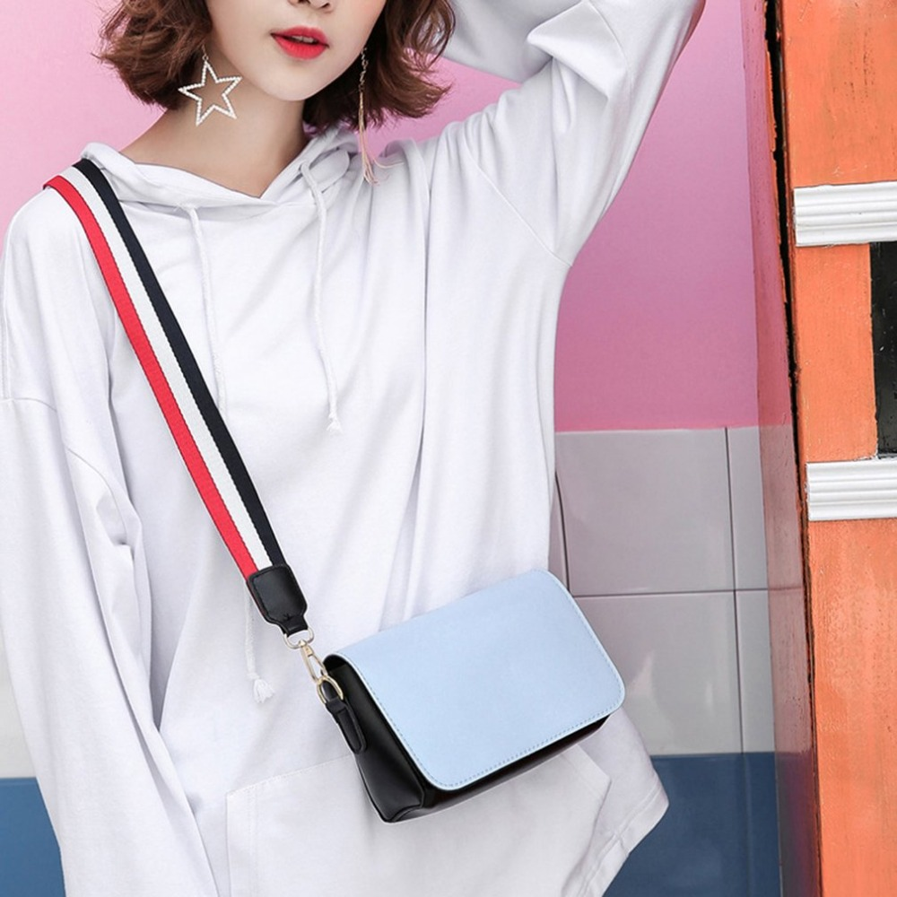 Women Shoulder Bag 2018 Candy Color Women Bag PU Leather Shoulder Bag Wide Strap Female Crossbody Bags Phone Small Flap