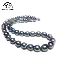 MADALENA SARARA AAA 9 10mm Saltwater Pearl Round Shape Pearl Necklace Strand Flawless 18 Au585 Clasp
