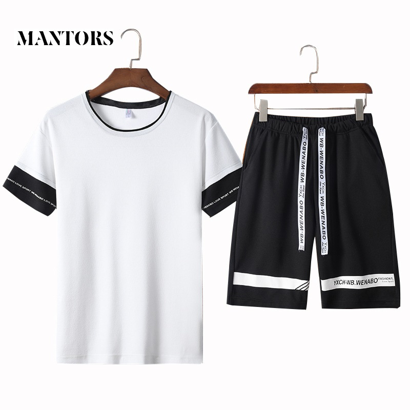 Men Casual Tracksuit Summer Breathable O-Neck T-shirt+Shorts 2PCS Sporting Suit 2019 New Solid Letter Patchwork Male Jogger Sets